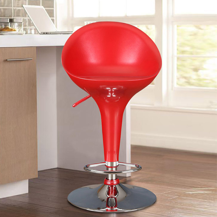 Emily ABS Bar Chair and Stool in Red Colour by HomeTown