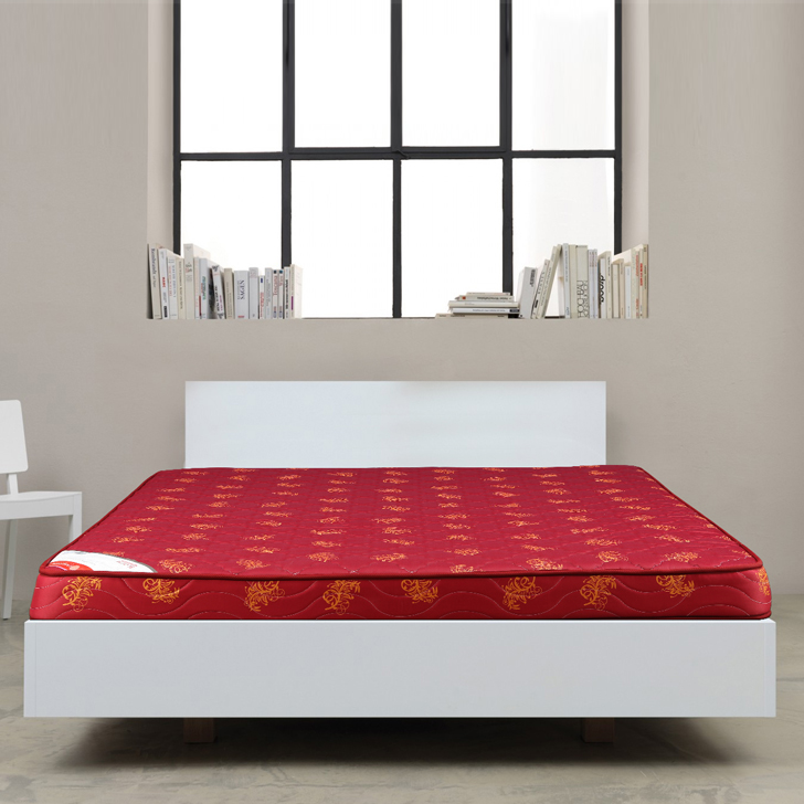 Mattress Bloom Bonnell Spring King Bed (78*72*5) in Maroon Colour by HomeTown