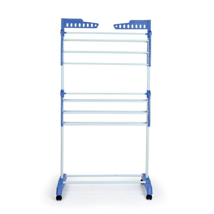 Maxdry Two Tier Dryer. Mild Steel and Plastic Cloth Dryers in White-Blue Colour by Bonita