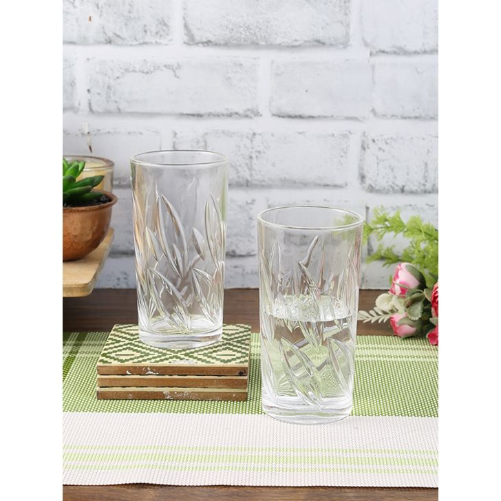 Living Essence Glass Leaf Water Tumblers Set Of 6 in Transparent Colour by Living Essence