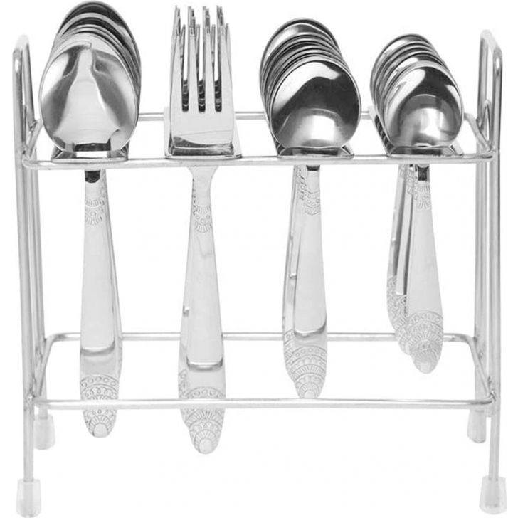 Kenwood Stainless Steel 24 Pcs Cutlery Set With Stand in Silver Colour by FNS