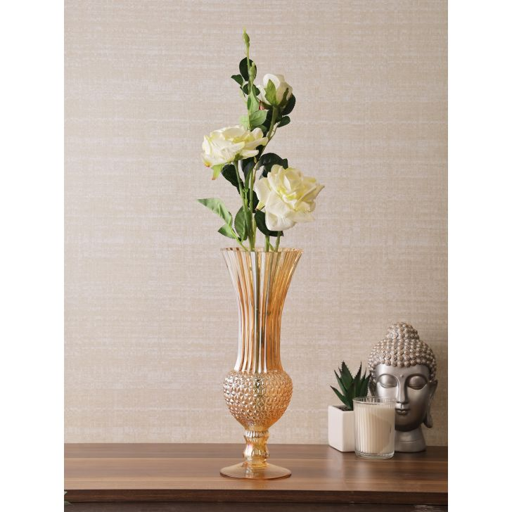 Belize Glass Tall Vase in Gold Colour
