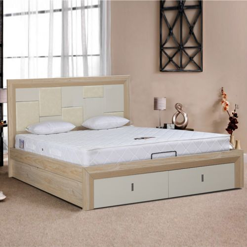 Queen Size Bed.Galileo Engineered Wood Queen Size Bed In Beige Colour By Hometown