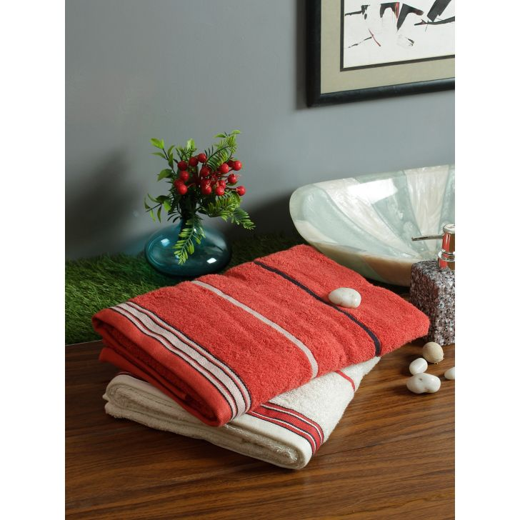 Set of 2 Emilia Cotton Bath Towels in Rust Off White Colour by Living Essence