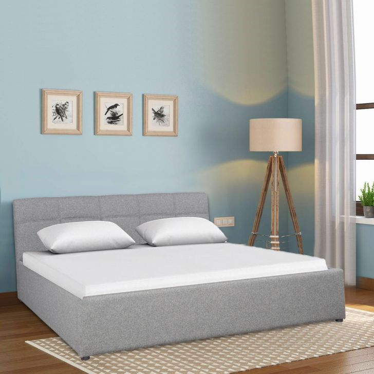 Allen Upholstered Queen bed with Box storage in Grey Colour