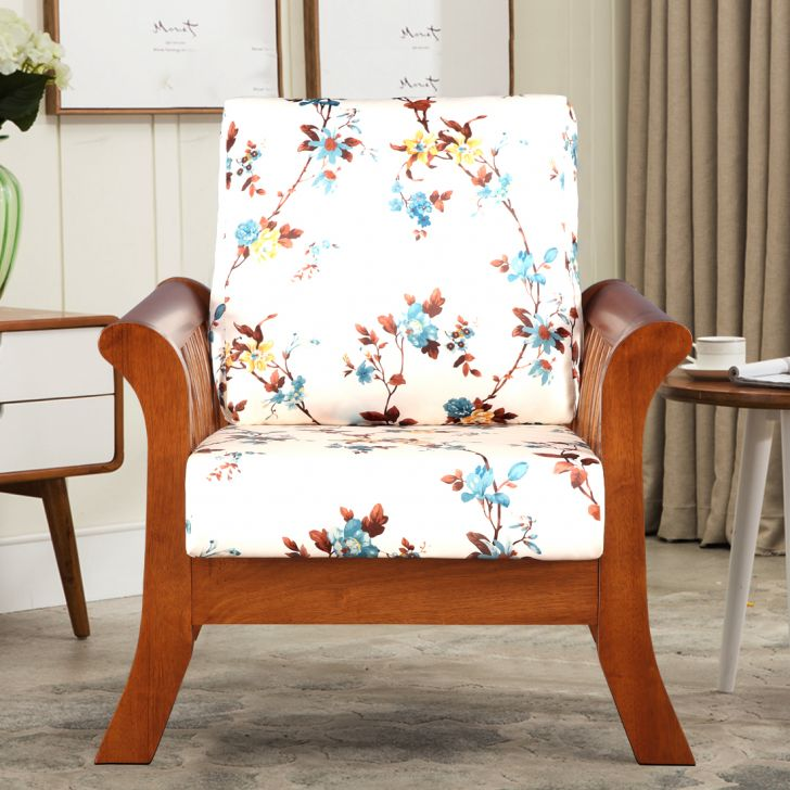 Aubrey Solid Wood Single Seater Sofa With Cushion in Floral Colour by HomeTown