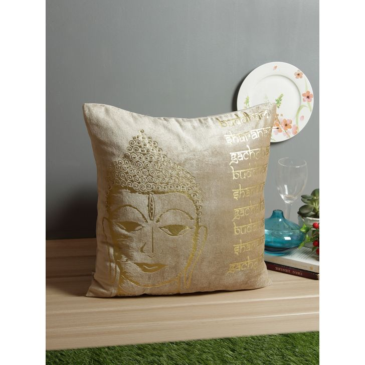 Buddha Cotton Cushion Covers in Beige Colour by Living Essence