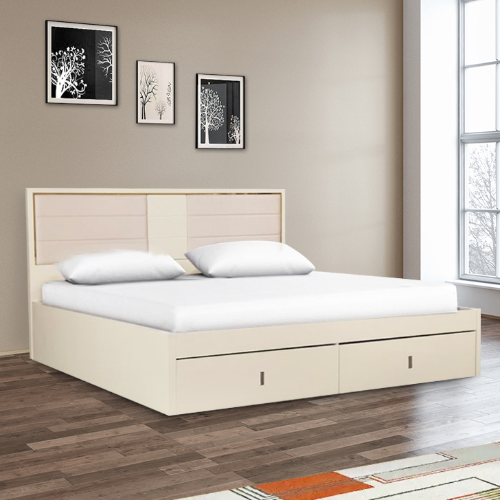 Stellar Engineered Wood Hydraulic Storage King Size Bed in High Gloss White Colour by HomeTown