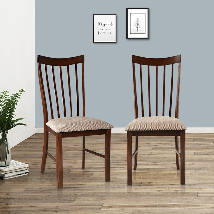 Parker Solid Wood Dining Chair Set of Two in Brown Colour by HomeTown