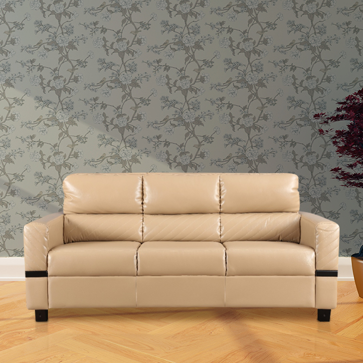 Benedict Leatherette Three Seater Sofa in Butterscotch Colour By Hometown