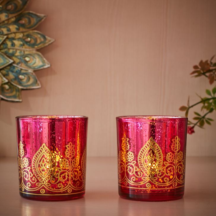 Zahara Glass Flower Candle Holder Set Of 2 in Red Colour by Living Essence