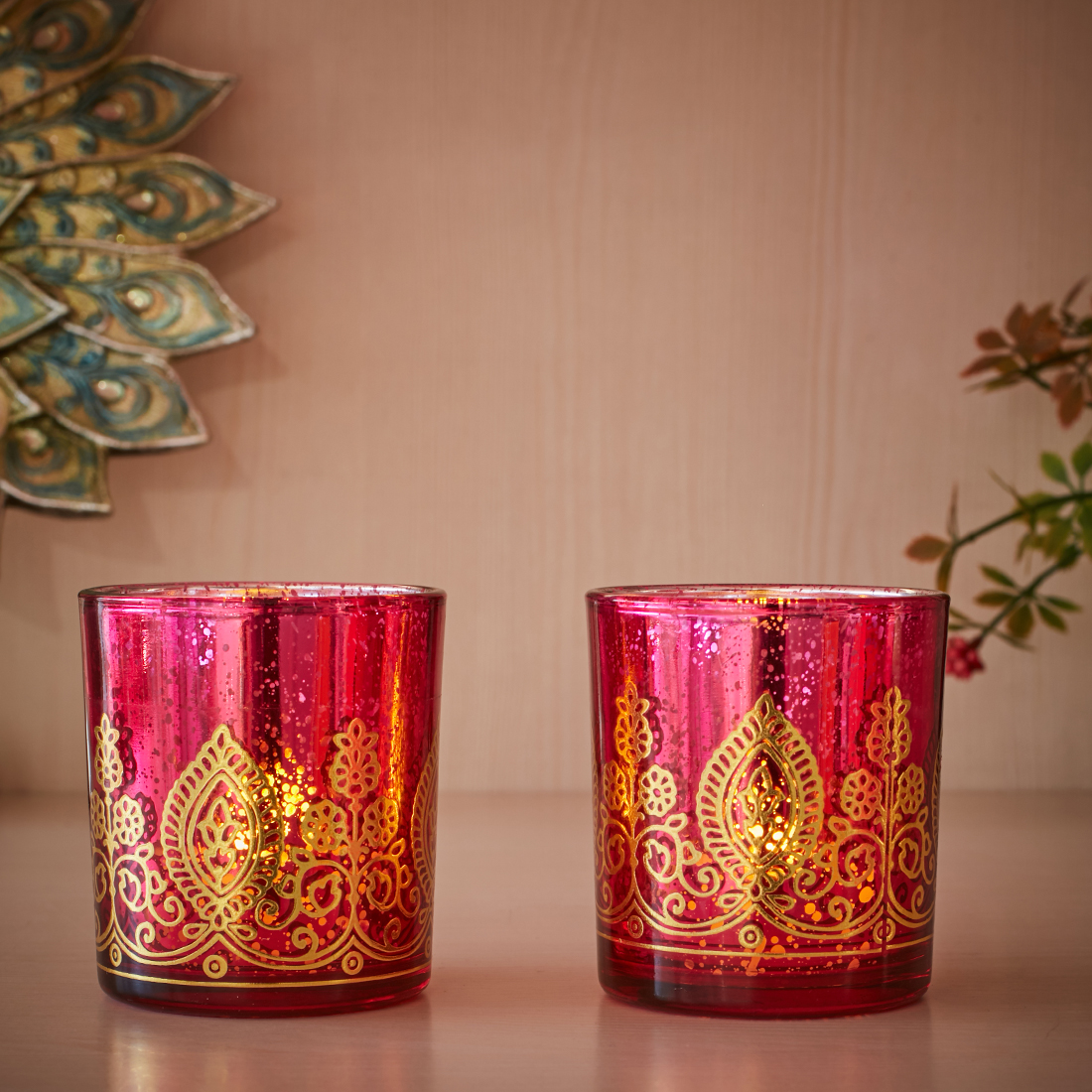 Zahara Set Of 2 Flower Etched Glass Candle Holders in PINK GLD Colour by Living Essence
