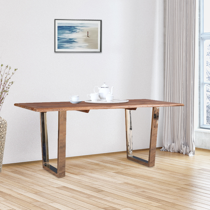 Nouveau Solid Wood Six Seater Dining Table in Honey Colour by HomeTown