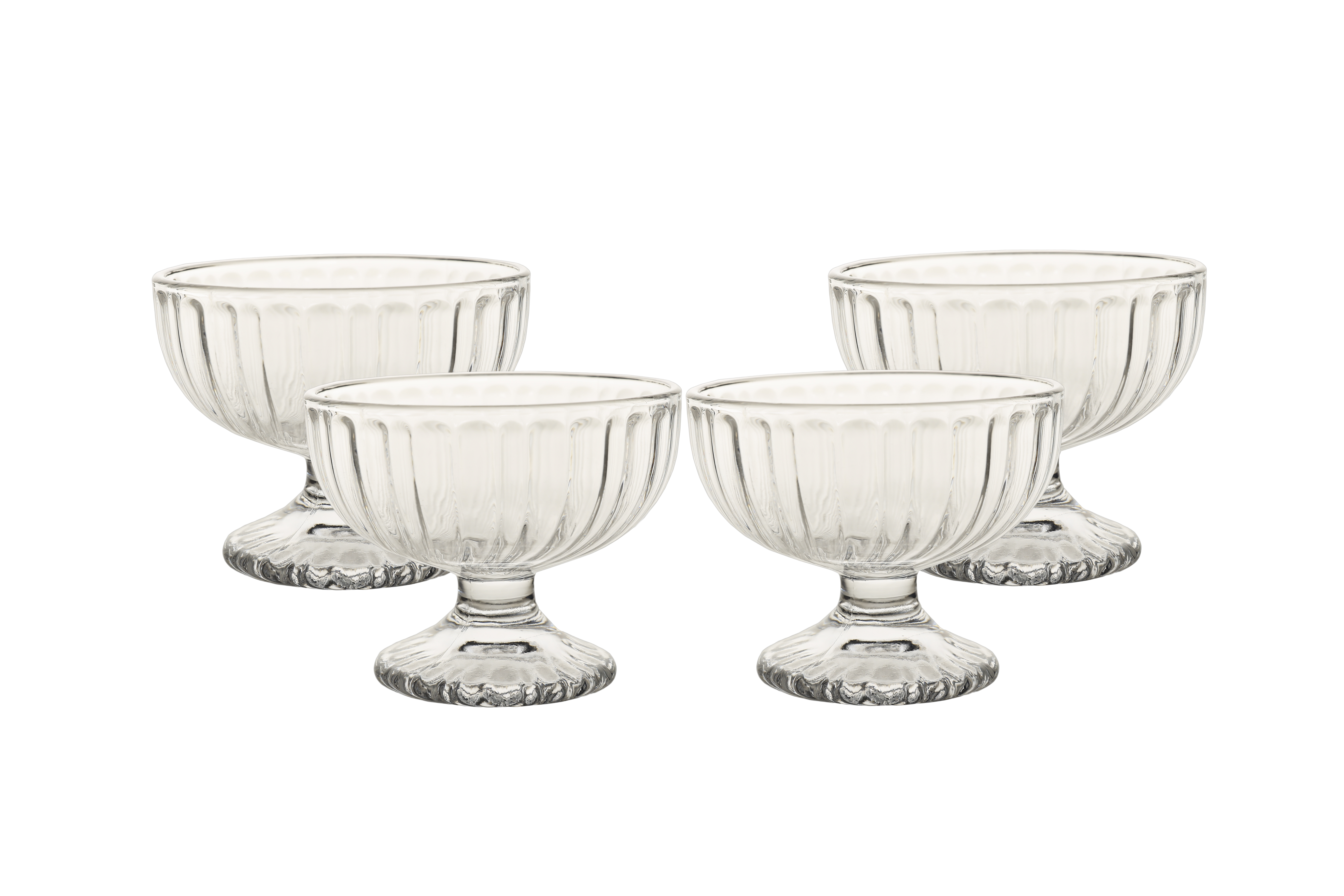 Crescent Alice Icecream Bowls Set Of Four Glass Dessert Sets in Transparent Colour by HomeTown