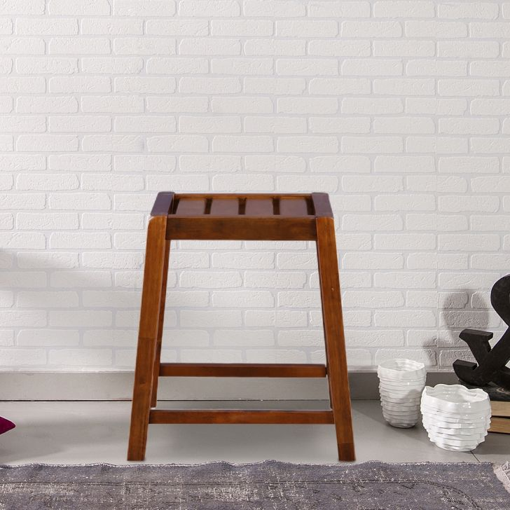 Ossett Solid Wood Stool in Walnut Colour by HomeTown