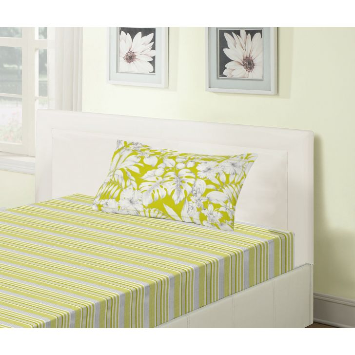 Emilia Cotton Single Bedsheets in Lime Colour by Living Essence