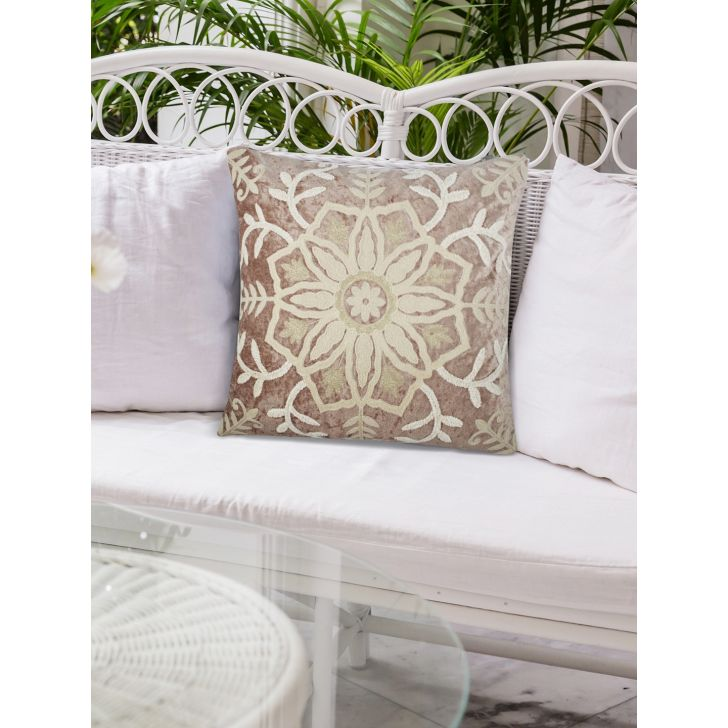 Chic Affair Suzani Polyester Cushion Covers in Toupe Colour by Living Essence