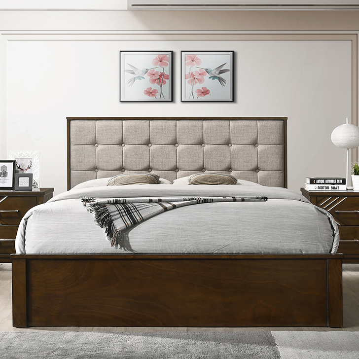 Bavaria Solid Wood Box Storage Queen Size Bed in Walnut Colour by HomeTown
