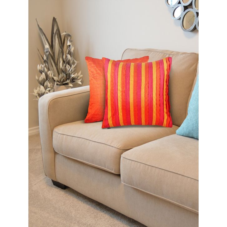 Folklore Set of 2 Polyester Cushion Covers in Rust Colour by Living Essence