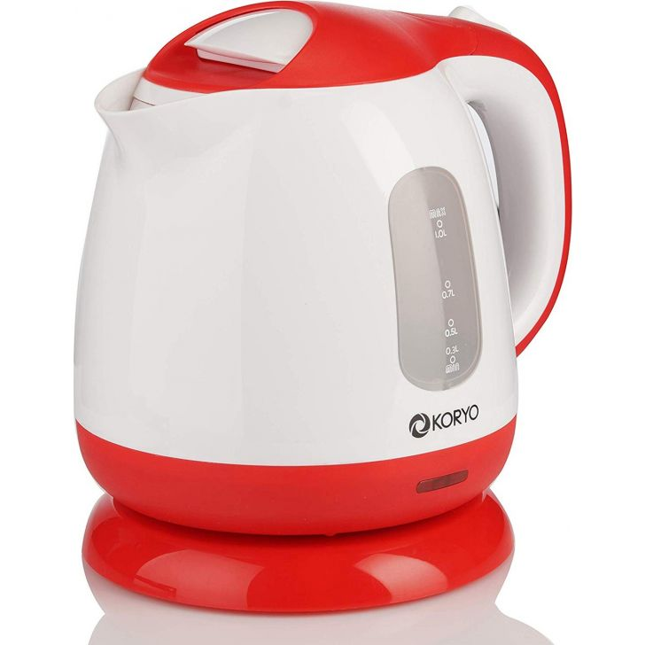 Electric Kettle (1100 W) - 1 Litre - White & Red by Koryo