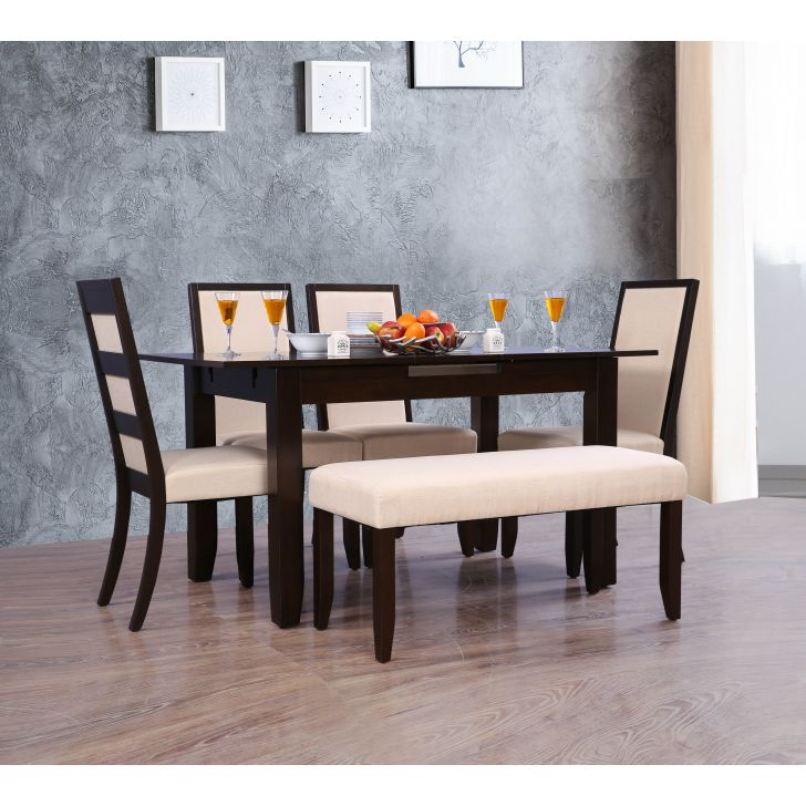 Flexi Solid Wood Six Seater To Eight Seater Extension Dining Set in Cappuccino Colour by HomeTown