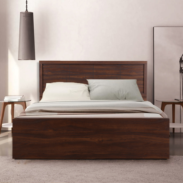 Alana Engineered Wood Box Storage Queen Size Bed in Cocorica Colour by HomeTown