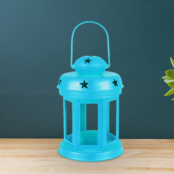 Allure Blue Glass Lantern With Star Etching Metal Lanterns in Blue Colour by Living Essence