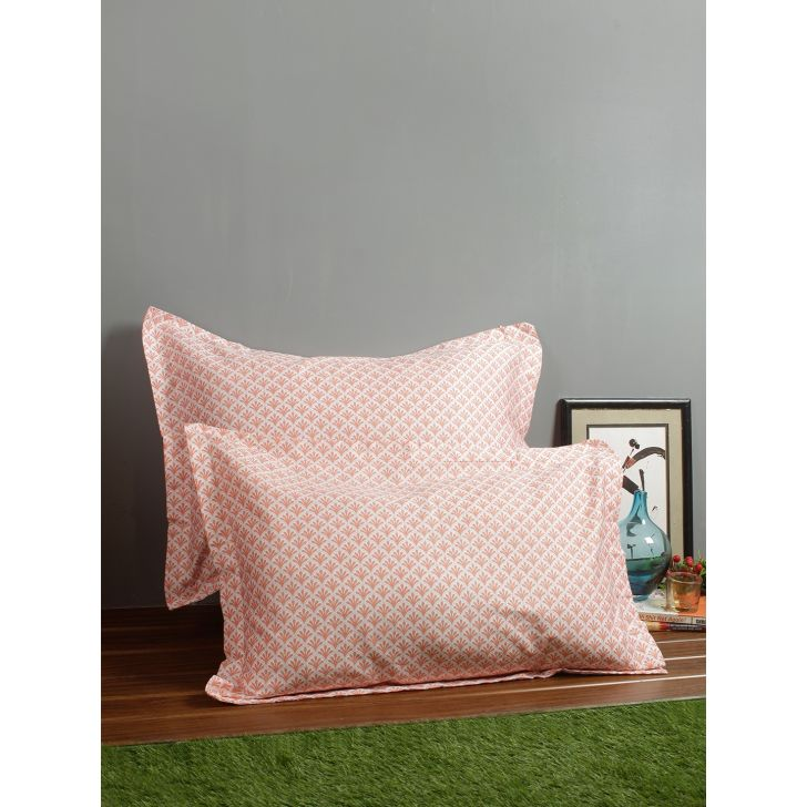 Set of 2 Amour Cotton Pillow Covers in Peach Colour by Living Essence