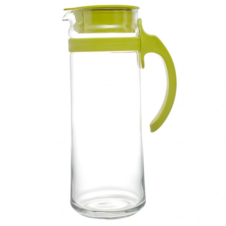 Patio Glass Pitcher in Transparent and White Colour by Living Essence