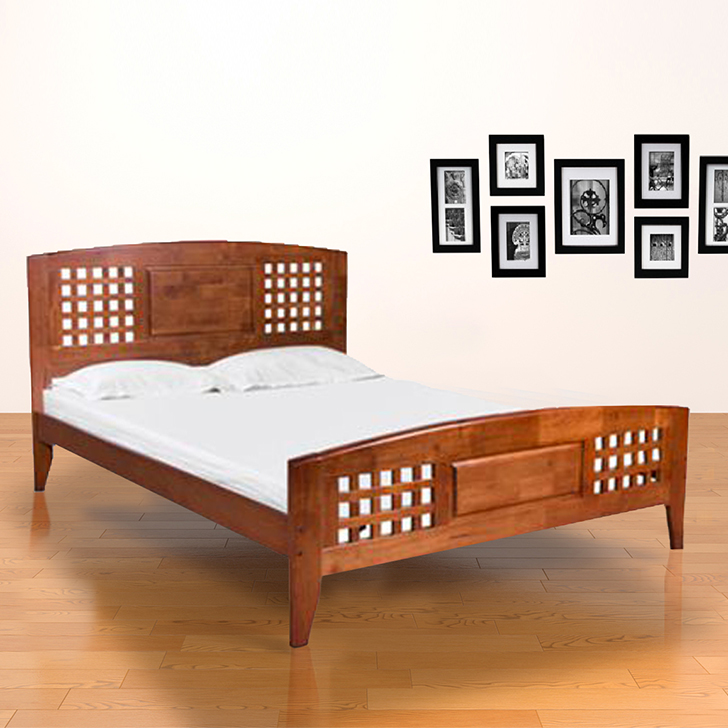 Windsor Solid Wood Queen Size Bed in Oak Colour by HomeTown