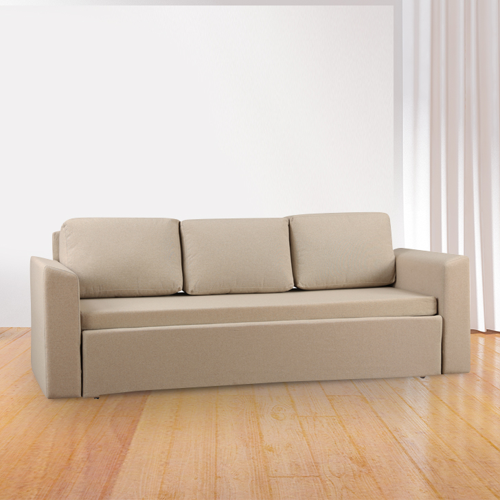 Nevile Fabric Three Seater Sofa in Beige Colour by HomeTown
