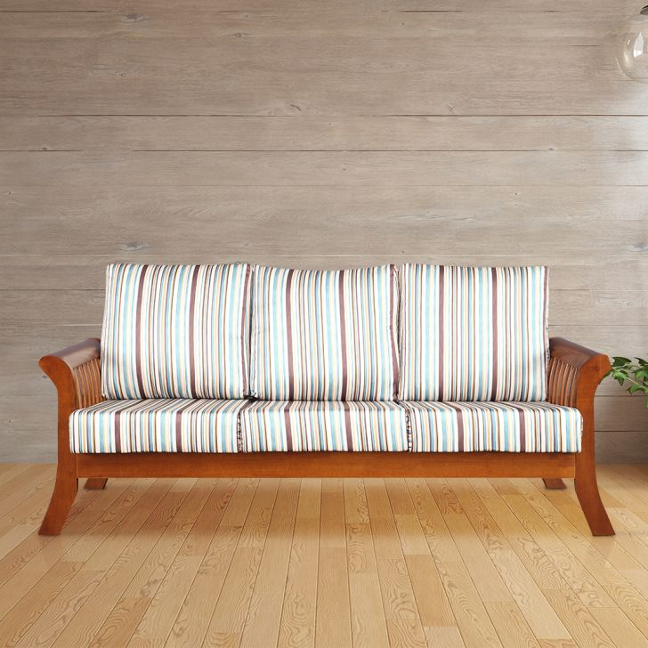 Aubrey Solid Wood Three Seater Sofa with Cushion in Stripes Colour by HomeTown