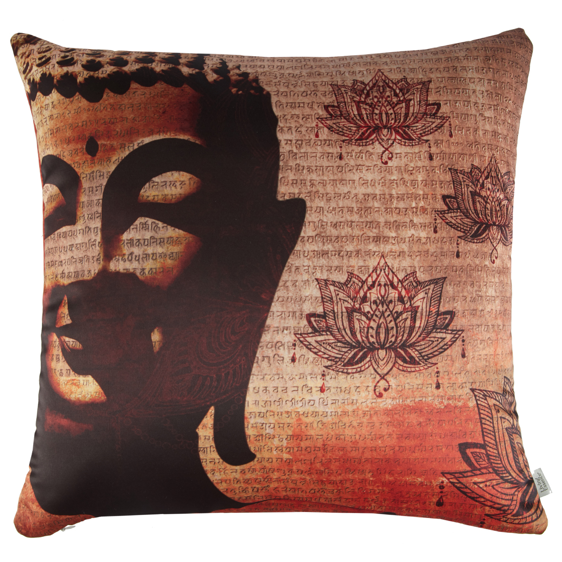 Digital Cushion Cover Buddha Cushion Covers in Poly Satin Colour by Living Essence