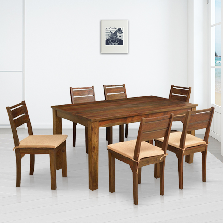 Java Solid Wood Six Seater Dining Set in Light Brown Colour by HomeTown