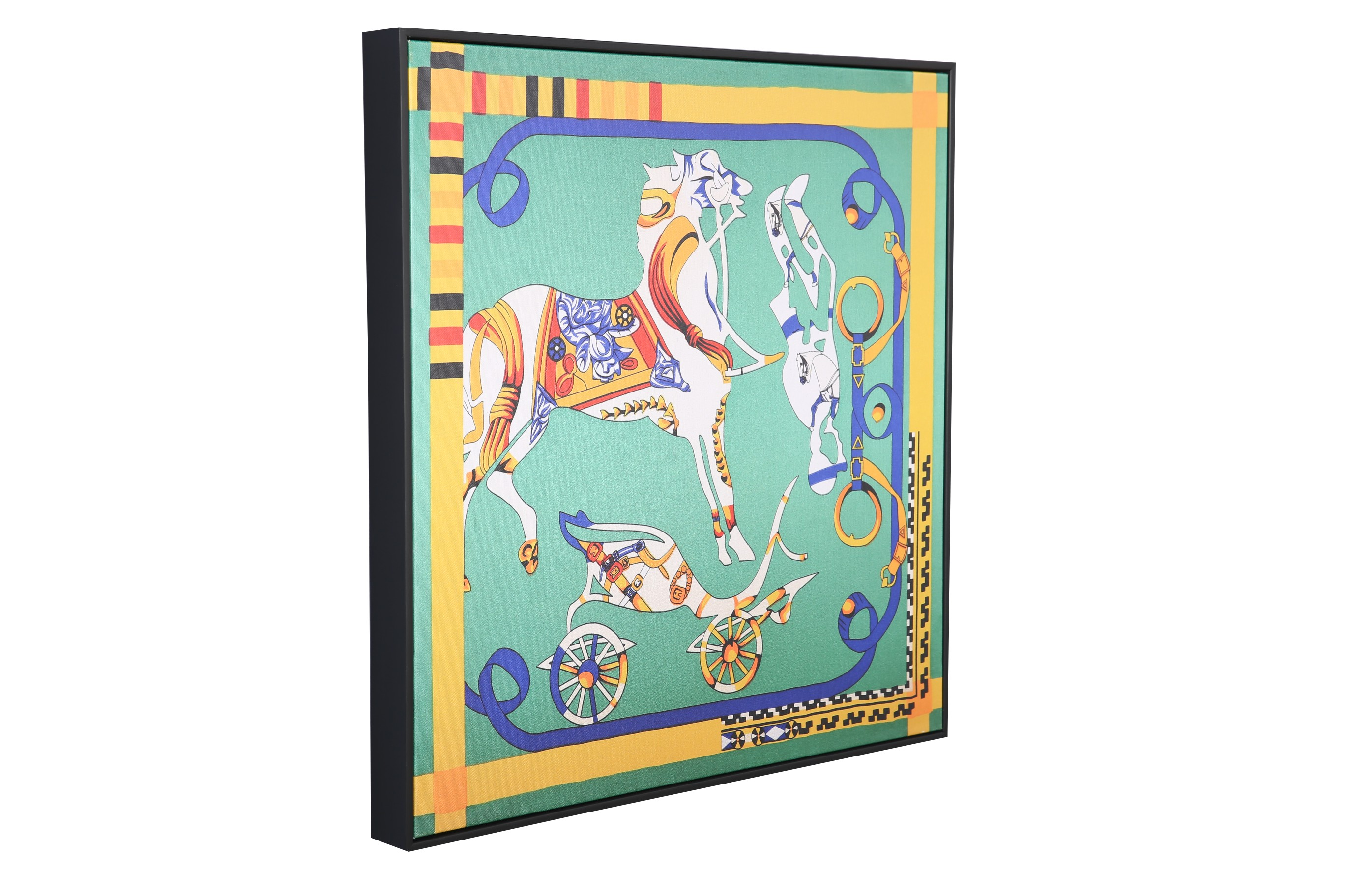 Hayden Hermes Horse 58*58Cm Painting Canvas Paintings in MULTICOLOUR Colour by Living Essence