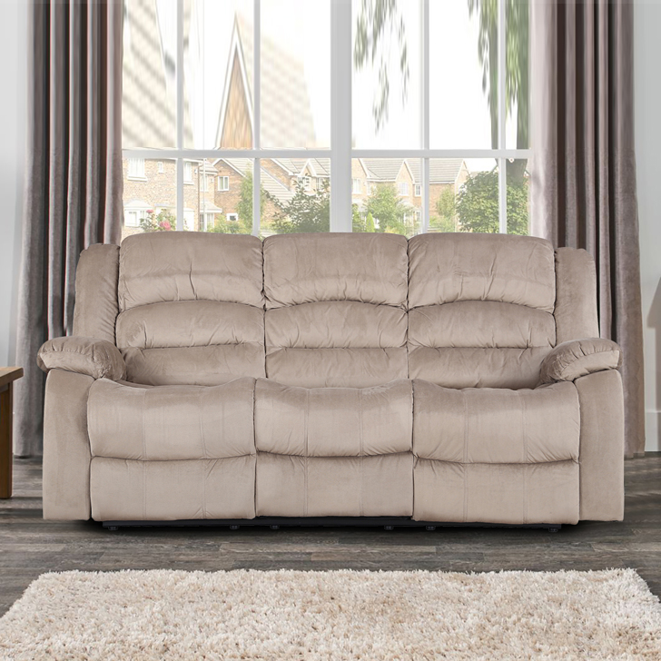 Bradford Fabric Three Seater Electric Recliner in Camel Colour by HomeTown