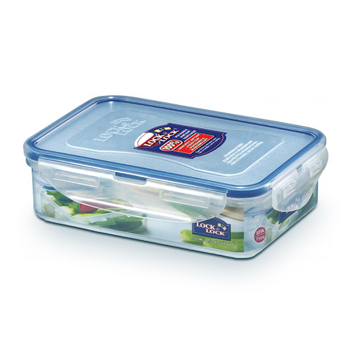 Lock & Lock Classics Short Rectangular Food Container 550 ml Polypropylene Containers in Transparent Colour by Lock & Lock