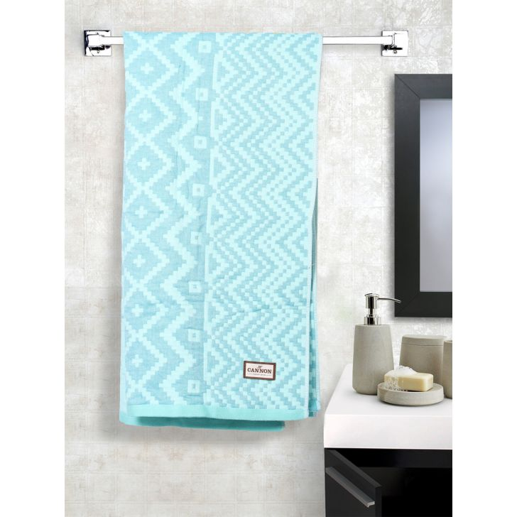Jacquard Cotton Bath Towels in Blue Colour by Cannon