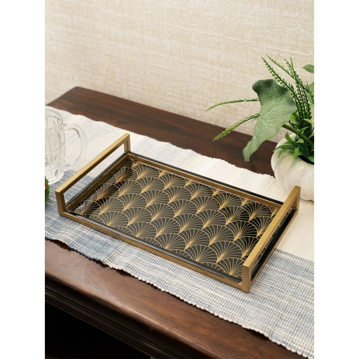 Darbar Metal Tray 35Cm in Black Gold Colour by Living Essence