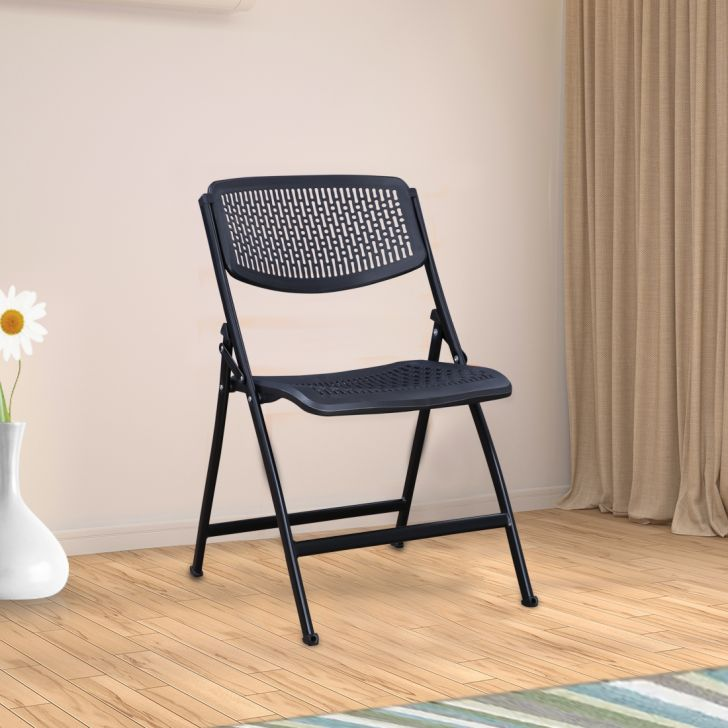 Venus Plastic Folding Chair in Black Colour by HomeTown