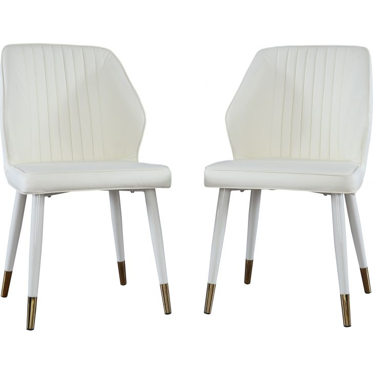 Stellar Engineered Wood Dining Chair Set Of Two in White Colour by HomeTown