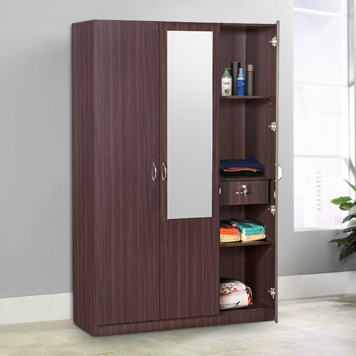 Allen Engineered Wood Three Door wardrobe in Walnut Colour by HomeTown
