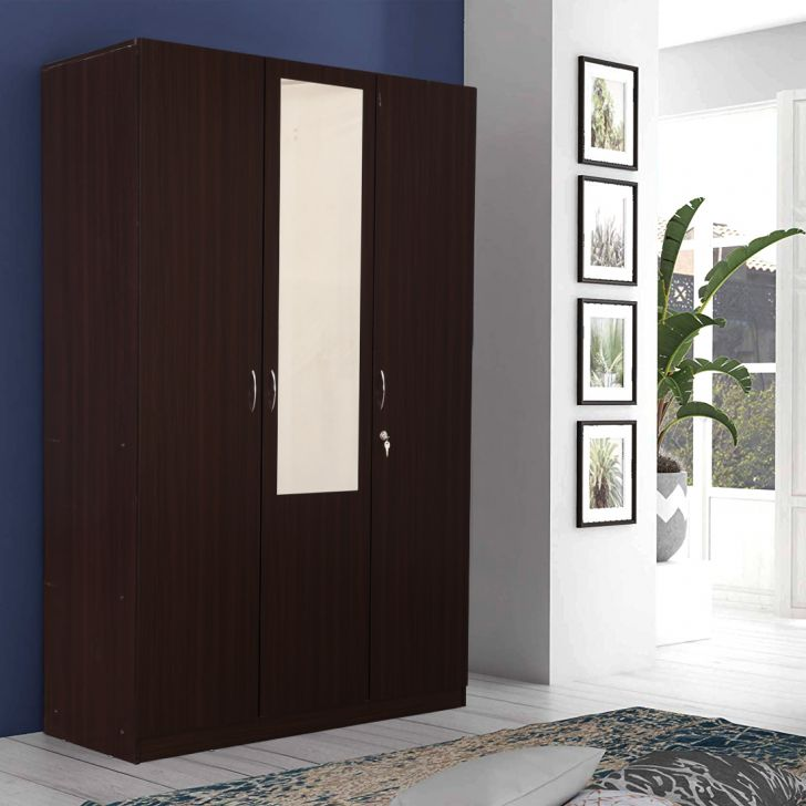 Allen Engineered Wood Three Door wardrobe in Walnut Color by HomeTown