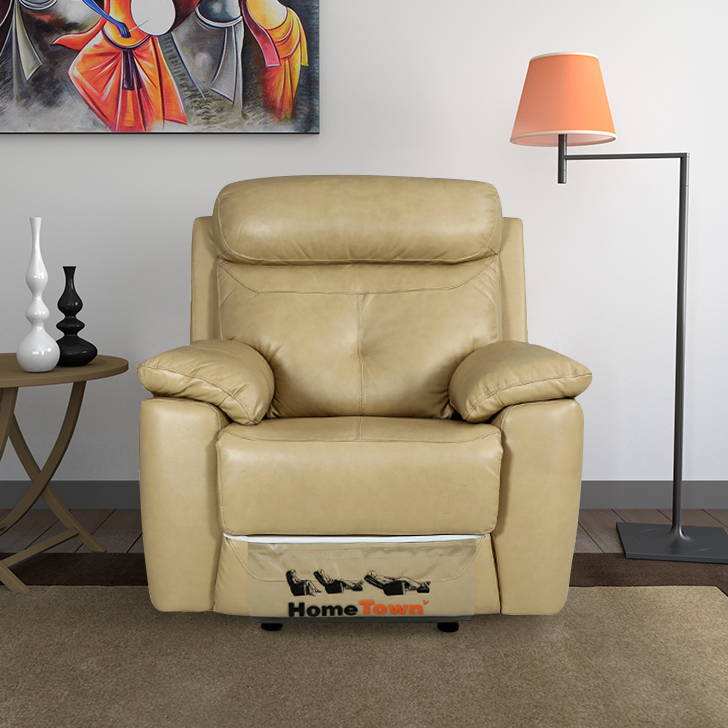 Manahattan Half Leather Single Seater Recliner in Beige Colour by HomeTown