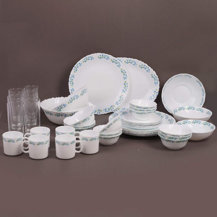 LaOpala Classique 42 pcs -Lavender Dew Opalware Dinner Set in White Colour by Diva