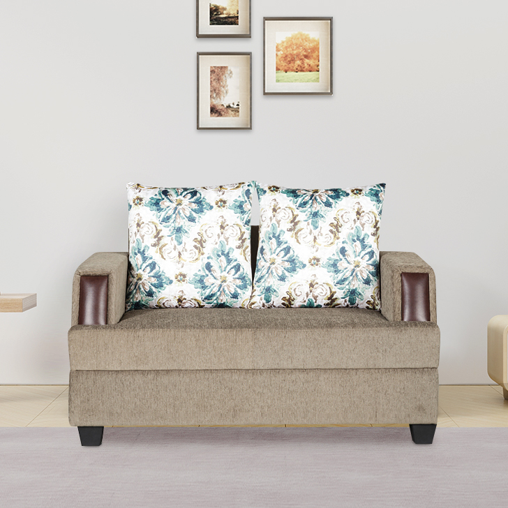 Elanza Fabric Two Seater Sofa in Teal Colour by HomeTown