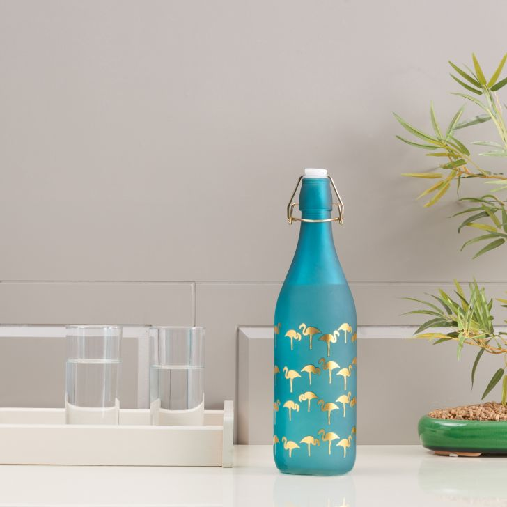 Bahamas Glass Teal Frosted Gold Bottle 1L in Teal Colour