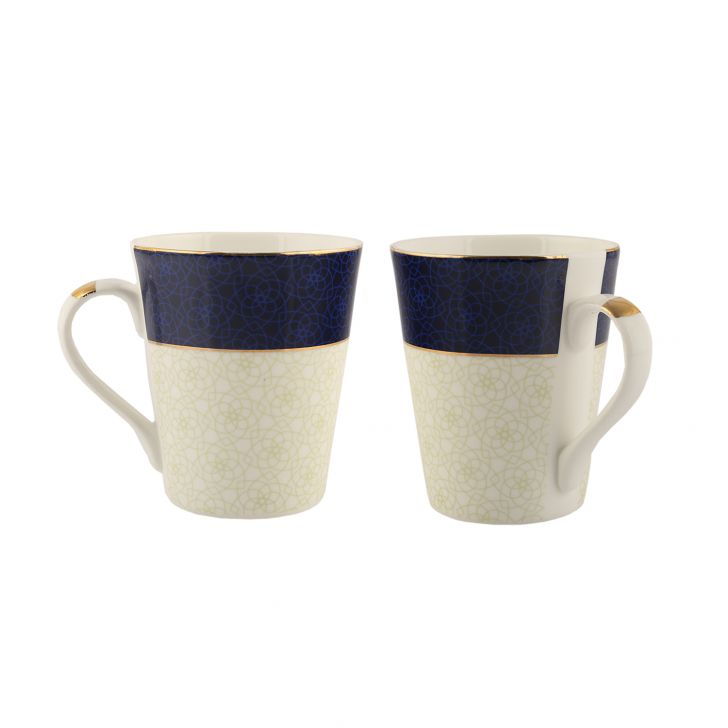 Sk Nar 2Pc Milk Mug Ceramic Coffee Mugs in Blue & White Colour by Sanjeev Kapoor