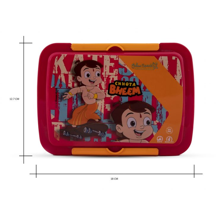 Yellow Spark International Lunch Box Chhota Bheem Plastic Lunch Boxes in Yellow & Pink Colour by HomeTown
