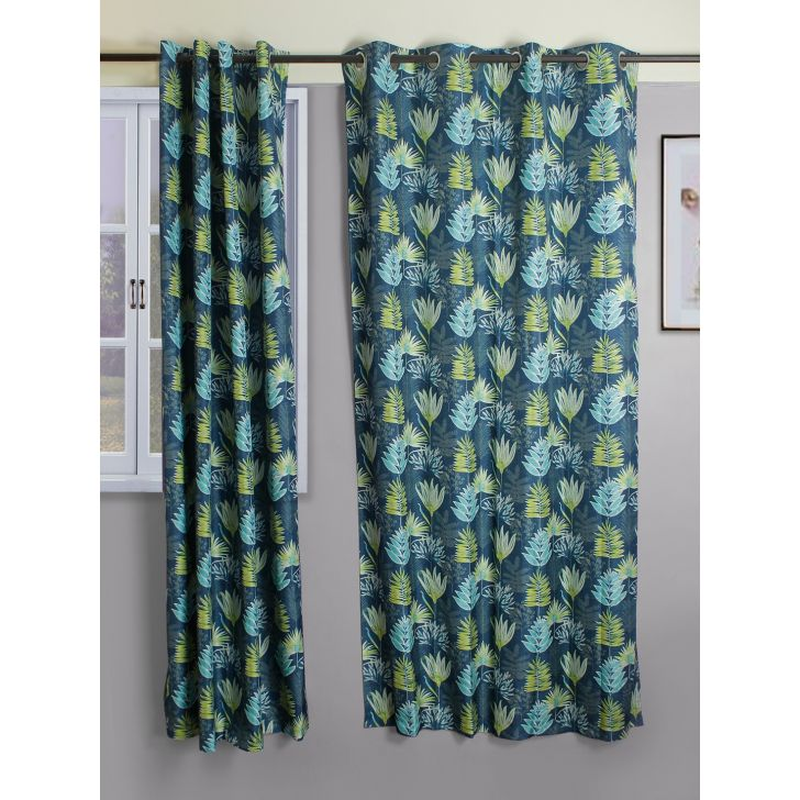 Set of 2 Nora Print Polyester Door Curtains in Turquoise Colour by Living Essence